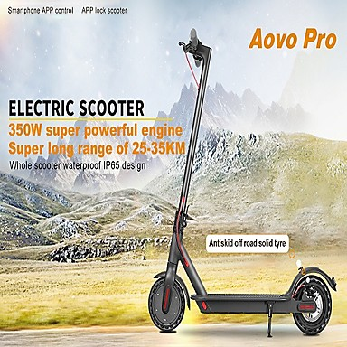 "economico Auto-[us warhouse in stock] aovo pro scooter elettrico pieghevole 350w motore doppio freno a disco app per smartphone e scooter 8.5 ""display lcd ruote max 30km / h ip65 impermeabile skateboard betterthan x"