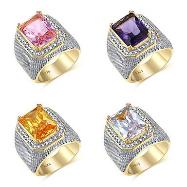 povoljno Muško prstenje-Muškarci Prsten Kubični Zirconia 1pc White / White purpurna boja Bijela mesing Geometric Shape Moda Party Dnevno Jewelry Vintage Style Pasijans Cool