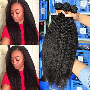 preiswerte Haarverlängerungen-3 Bündel Brasilianisches Haar Kinky Glatt Cabello Natural Remy Menschenhaar spinnt Gewebe 10-24 Inch Natürlich Menschliches Haar Webarten Natürlich Schlussverkauf Modisch Haarverlängerungen