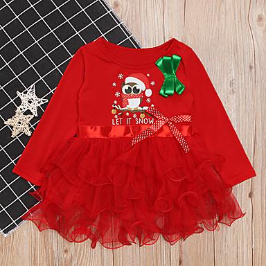 povoljno Odjeća za bebe-Dijete Djevojčice Osnovni Geometrijski oblici / Božić Print Dugih rukava Haljina Red