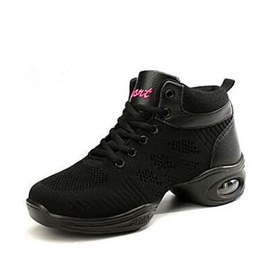 preiswerte Tanz Sneaker-Damen Tanzschuhe Gestrickt Tanz-Turnschuh Sneaker Starke Ferse Maßfertigung Schwarz / Weiß