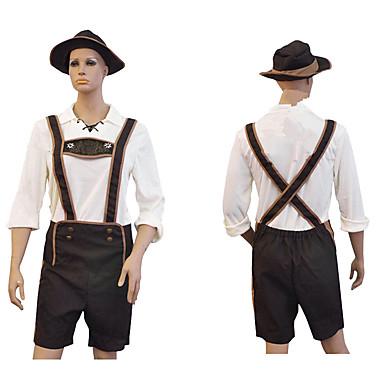 วันฮาโลวีน Oktoberfest lederhosen สำหรับผู้ชาย Top กางเกง หมวก บาวาเรีย เครื่องแต่งกาย สีน้ำตาล