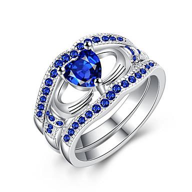 billige Motering-Dame Ring Kubisk Zirkonium 1pc Sølv Sølvplett Rund Stilfull Fest Engasjement Smykker Klassisk Hjerte Heart