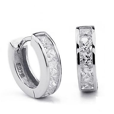 levne Dámské šperky-jednoduché ženy muži 925 šterlinků stříbrná známka náušnice švýcarsko blok cz zirkon křišťál šperky velkoobchod brincos plata