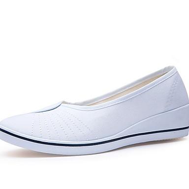 levne Dámské boty s plochou podrážkou-Dámské Bez podpatku Rovná podrážka Oblá špička PU Podzim zima Černá / Bílá