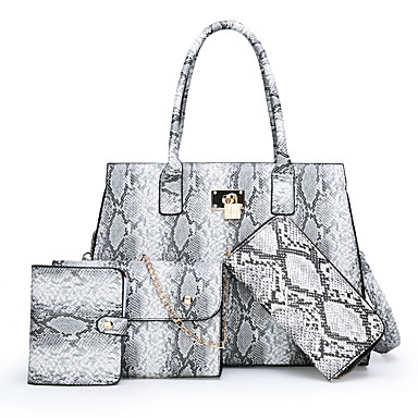 preiswerte Shoes Trends-Damen Geprägt Leder / PU Bag Set Gestreift 4 Stück Geldbörse Set Braun / Hell Gray / Rote / Schlangenhaut