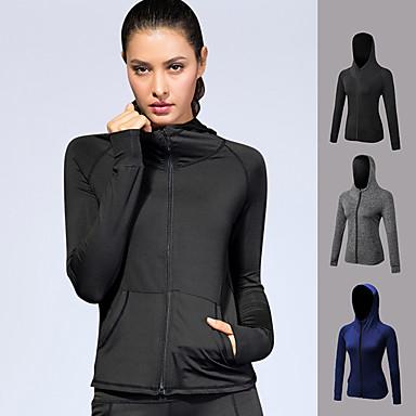 YUERLIAN สำหรับผู้หญิง useless Track Jacket สีดำ สีดำ สีน้ำเงินเข้ม สีเทา ผ้าขนแกะ โยคะ วิ่ง การออกกำลังกาย Hoodie แขนยาว กีฬา ชุดทำงาน Lightweight กันลม นุ่ม Power Flex ความยืดหยุ่นสูง เพรียวบาง