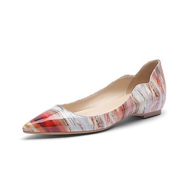 levne Dámské boty s plochou podrážkou-Dámské Bez podpatku Rovná podrážka Palec do špičky Lakovaná kůže Jaro & podzim Růžová
