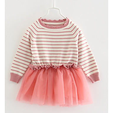 cheap Baby & Toddler Girl-Baby Girls' Basic Striped Long Sleeve Dress Blushing Pink