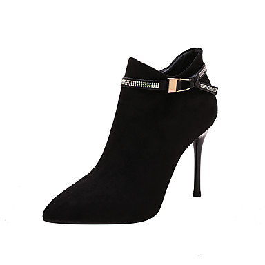 cheap Women's Boots-Women's Boots Stiletto Heel Pointed Toe Buckle PU Booties / Ankle Boots Sweet / Minimalism Fall & Winter Black / Khaki