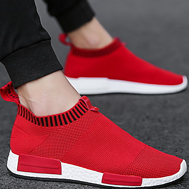 cheap Men's Sneakers-Men's Comfort Shoes Spring / Summer / Fall Sporty / Casual Daily Outdoor Sneakers Walking Shoes Rubber Breathable Wear Proof Red / White / Black / Winter