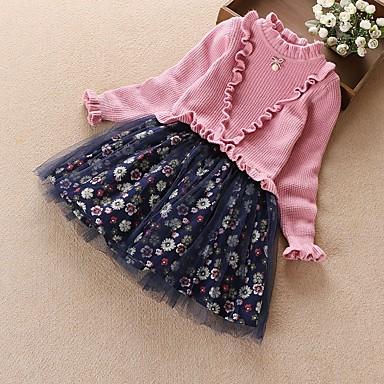 baratos Mais Vendidos-Infantil Para Meninas Floral Vestido Vermelho