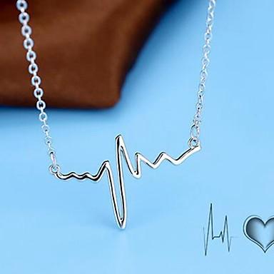 povoljno Modne ogrlice-Žene Ogrlice s privjeskom Otkucaji srca Jednostavan Krom Srebro 40+5 cm Ogrlice Jewelry 1pc Za Dnevno