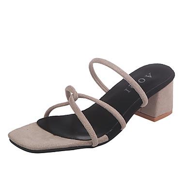 levne Dámské sandály-Dámské Sandály Block Heel Otevřený palec PU / Elastická tkanina Léto Černá / Béžová