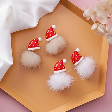 levne Dámské šperky-Dámské Peckové náušnice 3D Koule Cute Style Náušnice Šperky Světle kávová / Bílá Pro Vánoce 1 Pair