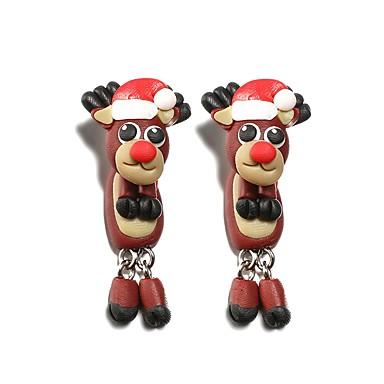 povoljno Modne naušnice-Žene Viseće naušnice 3D Los Slatka Style Naušnice Jewelry Braon Za Božić 1 par
