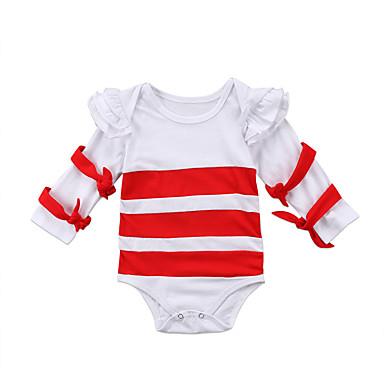 billige Nyheter-Baby Jente Aktiv Hvit / Rød Stripet Langermet Body Rød