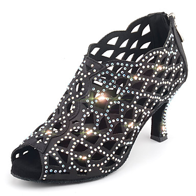 preiswerte Tanzschuhe-Damen Tanzschuhe Satin Schuhe für den lateinamerikanischen Tanz Glitter / Kristall Verzierung / Glitzer Absätze Keilabsatz Maßfertigung Schwarz / Rosa / Leistung