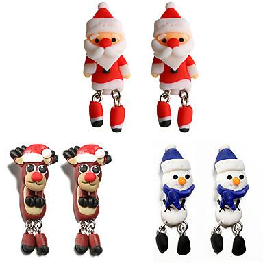levne Dámské šperky-Dámské Visací náušnice Socha Vánoční santa obleky Animák příroda Dovolená Náušnice Šperky Duhová Pro Vánoce Halloween Karneval 6ks