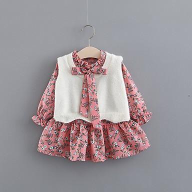 povoljno Kompletići za bebe-Dijete Djevojčice Ulični šik Print Dugih rukava Regularna Komplet odjeće Svjetloplav
