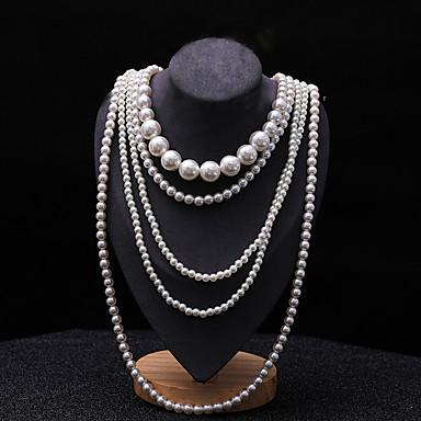 levne Dámské šperky-Dámské vrstvené Náhrdelníky Pearl přediva dlouhý náhrdelník Dlouhé dámy Asijský styl Pro nevěstu Vícevrstvé Perly Černá Světle šedá Bílá Červená Náhrdelníky Šperky 1ks Pro Svatební Párty Zvláštn