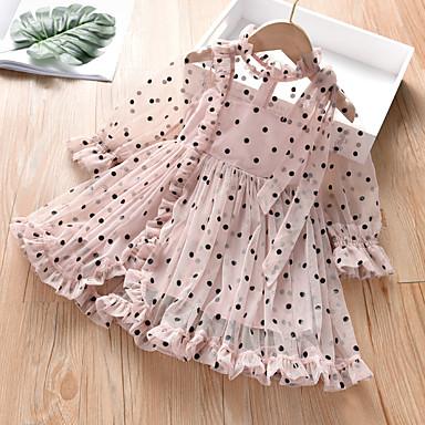 cheap Baby & Kids-Little Girls Long Sleeves Casual Birthday Dress with Tutu Skirt