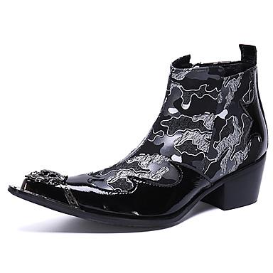 Muškarci Fashion Boots Mekana koža Zima / Jesen zima Ležerne prilike / Uglađeni Čizme Non-klizanje Čizme do pola lista Crn / Zabava i večer