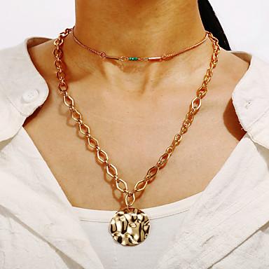 levne Dámské šperky-Dámské vrstvené Náhrdelníky Mince Vertikálně Cikánské Napodobenina perel Chrome Zlatá 32.5 cm Náhrdelníky Šperky Pro Karneval Dovolená Festival