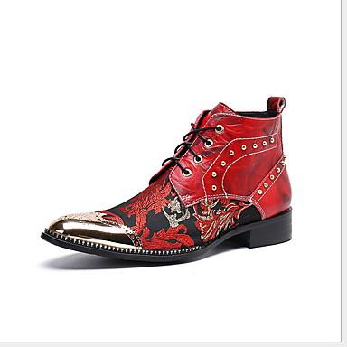 levne Dámská obuv-Dámské Boty Tiskněte boty Rovná podrážka Palec do špičky PU Podzim zima Červená