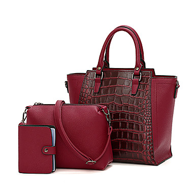 billige Shoes Trends-Dame Glidelås PU Veske Sett Fargeblokk 3 stk vesken sett Svart / Brun / Vin / Slangeskinn