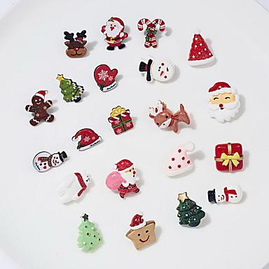 levne Dámské šperky-Dámské Brože Klasika Vánoční santa obleky Medvěd Vánoční stromek Klasické Moderní Módní Cute Style Barevná Pryskyřice Brož Šperky Růžová a zelená Zelená / červená Bílá / hnědá Pro Vánoce Dar Denn