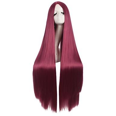 povoljno Perike i ekstenzije-Sintetičke perike / Perike za maškare Ravan kroj / Kinky Ravno Kardashian Stil Asimetrična frizura Capless Perika Crna Crn Sintentička kosa Žene Prirodna linija za kosu / Srednji dio Crna Perika Dug