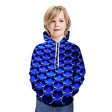 baratos Novidades-Infantil Para Meninos Activo Moda de Rua Geométrica 3D Retalhos Estampado Manga Longa Moleton & Blusa de Frio Azul