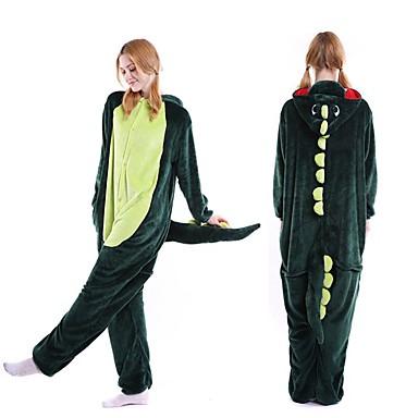 ผู้ใหญ่ Kigurumi Pajama Dinosaur Onesie Pajama Velvet Mink สีเขียว คอสเพลย์ สำหรับ ผู้ชายและผู้หญิง สัตว์ชุดนอน การ์ตูน Festival / Holiday เครื่องแต่งกาย