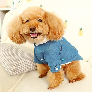 Cat Dog Denim Jacket / Jeans Jacket Winter Dog Clothes Gray Costume Denim Jeans Cowboy Fashion XS S M L XL