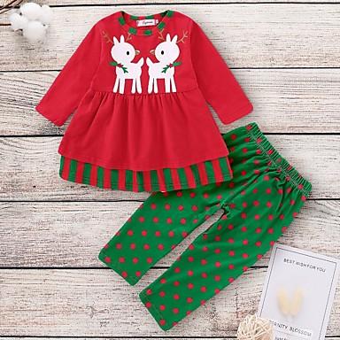 povoljno Kompletići za bebe-Dijete Djevojčice Ulični šik Na točkice Dugih rukava Regularna Komplet odjeće Red