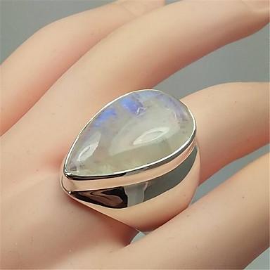 levne Dámské šperky-Dámské Band Ring Prsten Měsíční kámen 1ks Duhová Měď Postříbřené Sklo Geometric Shape Vintage Módní Párty Denní Šperky 3D Drahocenný Cool