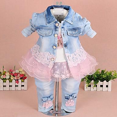 abordables Tenues de Bébés-bébé Fille Chic de Rue Bloc de Couleur Manches Longues Normal Ensemble de Vêtements Jaune