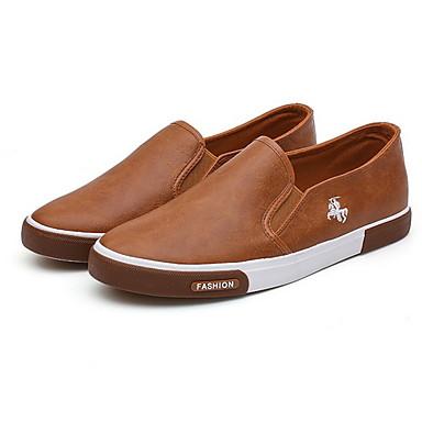 hesapli Erkek Düz Ayakkabıları ve Makosenleri-Erkek Ayakkabı PU Kış Mokasen & Bağcıksız Ayakkabılar Yarı-Diz Boyu Çizmeler Günlük için Siyah / Beyaz / Haki