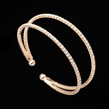 levne Dámské šperky-Dámské Široké náramky Náramek Tenisový řetězec Princezna Jednoduchý Evropský Sladký Módní Elegantní Štras Náramek šperky Zlatá / Stříbrná Pro Svatební Párty Zásnuby Dar Denní