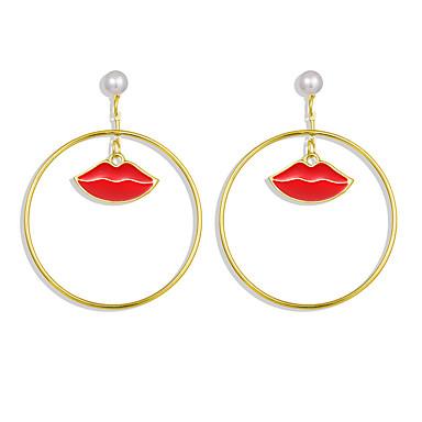 levne Dámské šperky-Dámské Visací náušnice Ozdobný Pusa Cute Style Náušnice Šperky Zlatá Pro Street Bar 1 Pair