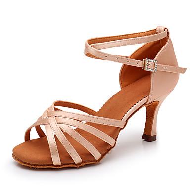 preiswerte Neu Eingetroffen-Damen Tanzschuhe Seide Schuhe für den lateinamerikanischen Tanz Glitter Absätze Schlanke High Heel Schwarz / Braun / Rosa
