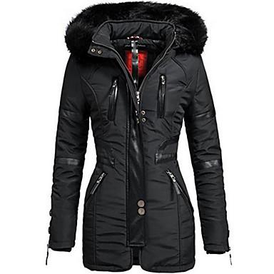 levne Novinky-Dámské Denní Podzim zima Dlouhé Kabát, Jednobarevné Kapuce Dlouhý rukáv Polyester Černá