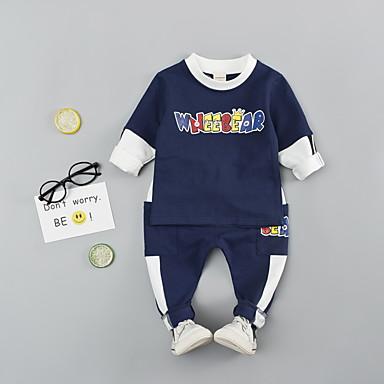 billige Nyheter-Baby Gutt Fritid Trykt mønster Trykt mønster Langermet Lang Normal Tøysett Navyblå