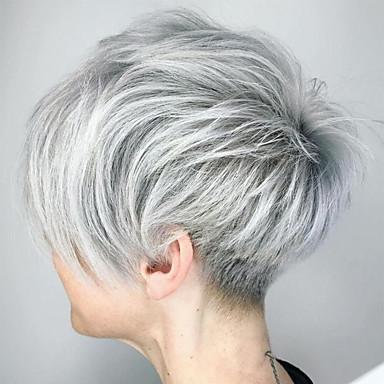 halpa Suojuksettomat-Ihmisen hiussekoitus Peruukki Lyhyt Suora Pixie-leikkaus Lyhyt kampaus 2020 Suora Luonnollinen hiusviiva Koneella valmistettu Naisten Musta Hopea Palest Blonde 8 tuumainen