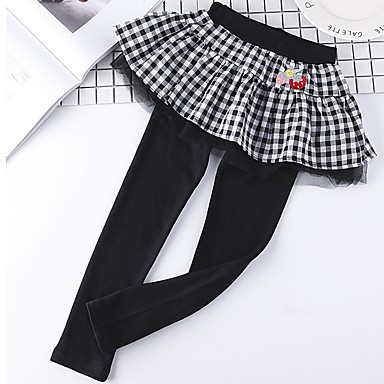 Baby & Kids-Kids Girls' Plaid Leggings Black