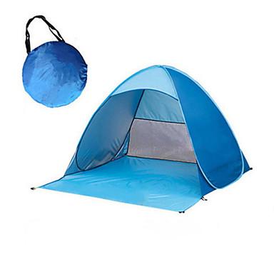 preiswerte Zelte & Unterkünfte-2 Personen Zelt Kuppelzelt mit Netz Außen UV-beständig Regendicht Atmungsaktivität Eine Schicht Automatisch Camping Zelt 1000-1500 mm für Camping / Wandern / Erkundungen Reisen Picknick Terylen