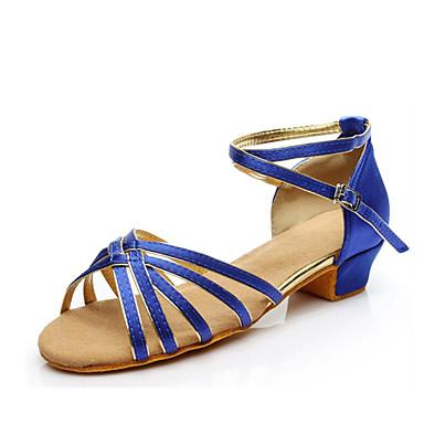 저렴한 아이용 댄스 신발-여아 댄스 신발 새틴 라틴 슈즈 힐 두꺼운 발 뒤꿈치 주문제작 가능 블랙 / 브라운 / 블랙과 골드