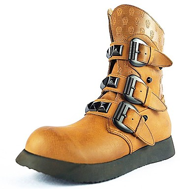 Herre Combat-boots Nappa Lær Vinter / Høst vinter Klassisk / Vintage Støvler Hold Varm Støvletter Svart / Brun
