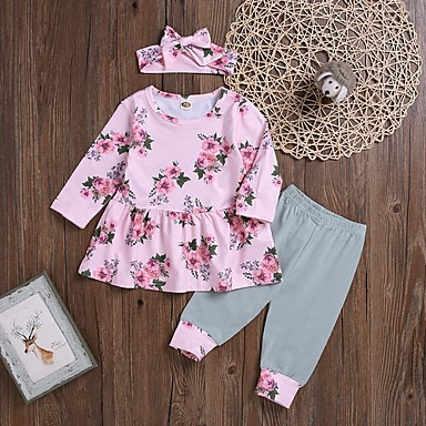 cheap Baby Girls' Clothing Sets-Baby Girls' Street chic Floral Long Sleeve Regular Clothing Set Blushing Pink